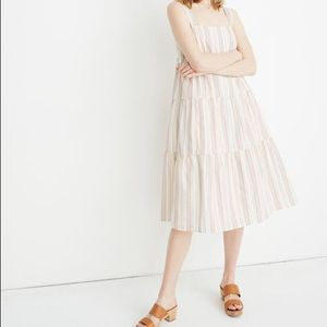 Madewell Tiered Dress in Textural Rainbow Stripe 6